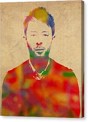 Alternative Music Canvas Print - Thom Yorke Radiohead Watercolor Portrait On Worn Distressed Canvas by Design Turnpike