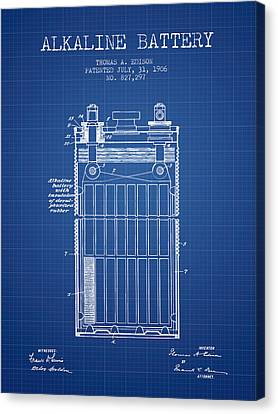 Thomas Canvas Print - Thomas Edison Alkaline Battery From 1906 - Blueprint by Aged Pixel
