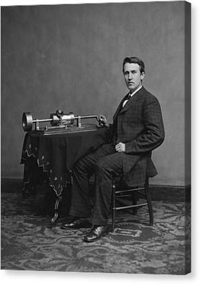 Celebrity Portrait Canvas Print - Thomas Edison And Phonograph 1878 by Mountain Dreams