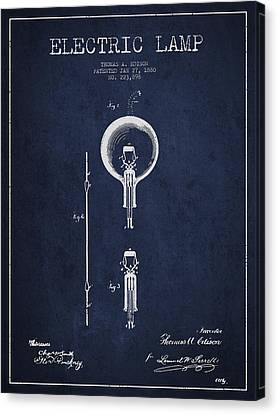 Thomas Edison Electric Lamp Patent From 1880 - Blue Canvas Print by Aged Pixel
