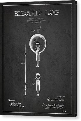 Thomas Edison Electric Lamp Patent From 1880 - Dark Canvas Print by Aged Pixel