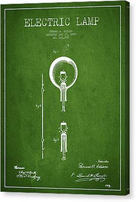 Thomas Edison Electric Lamp Patent From 1880 - Green Canvas Print by Aged Pixel