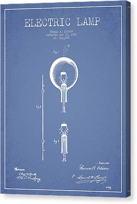 Thomas Edison Electric Lamp Patent From 1880 - Light Blue Canvas Print by Aged Pixel