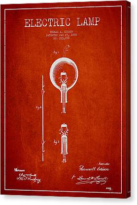 Incandescent Canvas Print - Thomas Edison Electric Lamp Patent From 1880 - Red by Aged Pixel