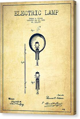 Thomas Edison Electric Lamp Patent From 1880 - Vintage Canvas Print by Aged Pixel