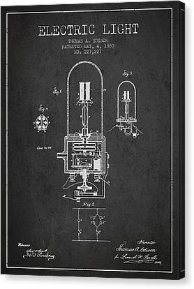 Incandescent Canvas Print - Thomas Edison Electric Light Patent From 1880 - Charcoal by Aged Pixel