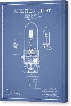 Thomas Edison Electric Light Patent From 1880 - Light Blue Canvas Print by Aged Pixel
