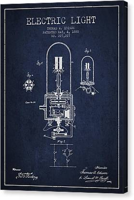 Thomas Edison Electric Light Patent From 1880 - Navy Blue Canvas Print by Aged Pixel