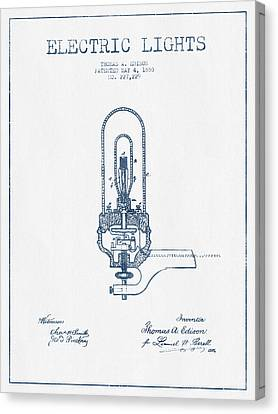 Thomas Edison Electric Lights Patent From 1880  - Blue Ink Canvas Print by Aged Pixel