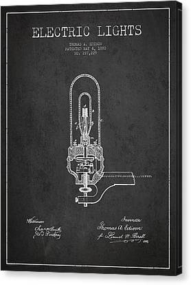 Thomas Edison Electric Lights Patent From 1880 - Dark Canvas Print by Aged Pixel
