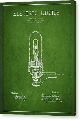 Thomas Edison Electric Lights Patent From 1880 - Green Canvas Print by Aged Pixel
