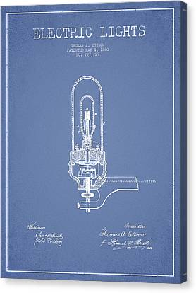 Thomas Edison Electric Lights Patent From 1880 - Light Blue Canvas Print by Aged Pixel