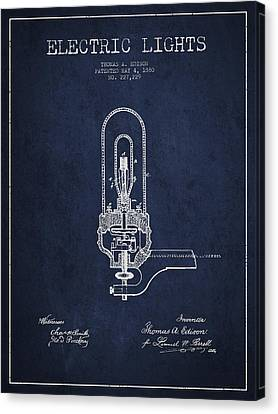 Incandescent Canvas Print - Thomas Edison Electric Lights Patent From 1880 - Navy Blue by Aged Pixel