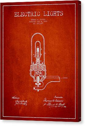 Thomas Edison Electric Lights Patent From 1880 - Red Canvas Print by Aged Pixel
