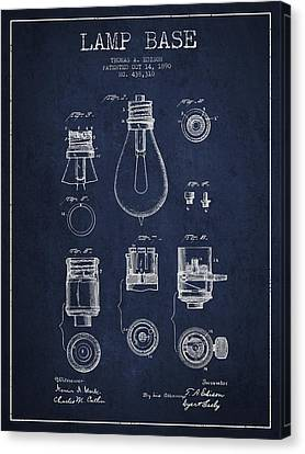 Incandescent Canvas Print - Thomas Edison Lamp Base Patent From 1890 - Blue by Aged Pixel