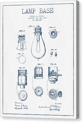 Incandescent Canvas Print - Thomas Edison Lamp Base Patent From 1890 - Blue Ink by Aged Pixel