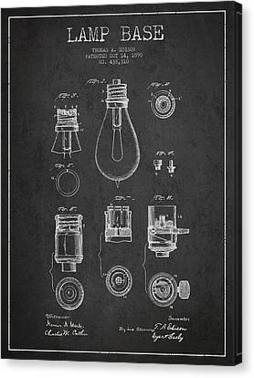 Incandescent Canvas Print - Thomas Edison Lamp Base Patent From 1890 - Dark by Aged Pixel