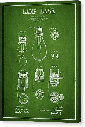 Thomas Edison Lamp Base Patent From 1890 - Green Canvas Print by Aged Pixel