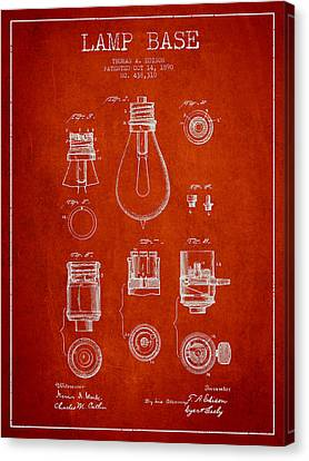 Incandescent Canvas Print - Thomas Edison Lamp Base Patent From 1890 - Red by Aged Pixel