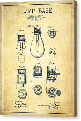 Thomas Edison Lamp Base Patent From 1890 - Vintage Canvas Print by Aged Pixel