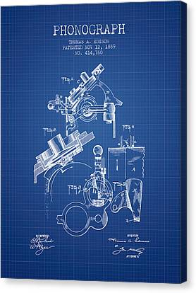 Thomas Canvas Print - Thomas Edison Phonograph Patent From 1889 - Blueprint by Aged Pixel