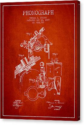 Thomas Canvas Print - Thomas Edison Phonograph Patent From 1889 - Red by Aged Pixel