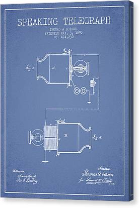 Thomas Edison Speaking Telegraph Patent From 1892 - Light Blue Canvas Print by Aged Pixel