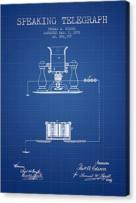 Thomas Edison Speaking Telegraph Patent From 1893 - Blueprint Canvas Print by Aged Pixel