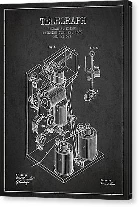 Thomas Edison Telegraph Patent From 1869 - Charcoal Canvas Print