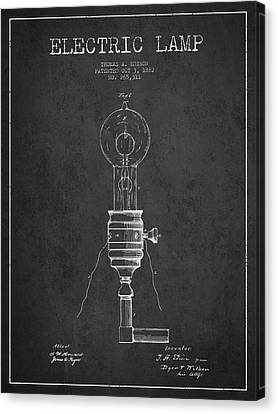 Thomas Edison Vintage Electric Lamp Patent From 1882 - Dark Canvas Print by Aged Pixel