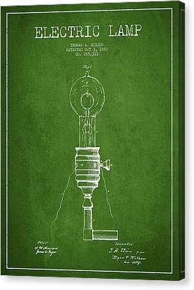 Thomas Edison Vintage Electric Lamp Patent From 1882 - Green Canvas Print by Aged Pixel