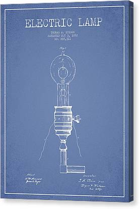 Thomas Edison Vintage Electric Lamp Patent From 1882 - Light Blu Canvas Print by Aged Pixel