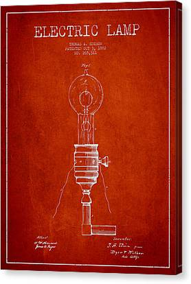 Incandescent Canvas Print - Thomas Edison Vintage Electric Lamp Patent From 1882 - Red by Aged Pixel