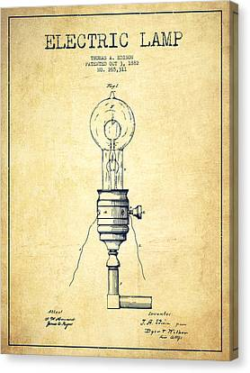 Thomas Edison Vintage Electric Lamp Patent From 1882 - Vintage Canvas Print by Aged Pixel