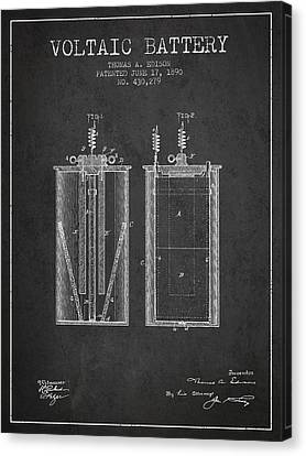 Thomas Canvas Print - Thomas Edison Voltaic Battery Patent From 1890 - Charcoal by Aged Pixel