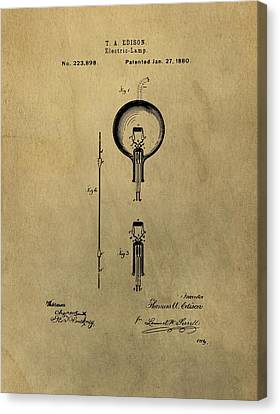 Thomas Edison's Electric Lamp Patent Illustration Canvas Print by Dan Sproul
