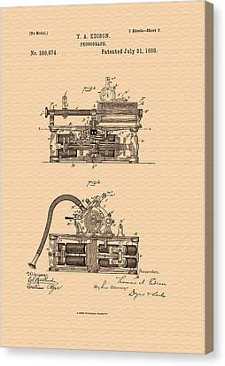 Thomas Edison's Phonograph Patent Canvas Print
