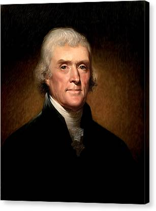Thomas Jefferson By Rembrandt Peale Canvas Print by Bill Cannon