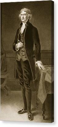 Thomas Jefferson Canvas Print by Eliphalet Frazer Andrews