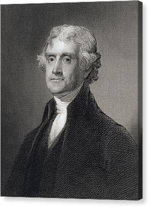 Thomas Jefferson Canvas Print by Gilbert Stuart