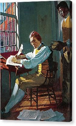 Thomas Jefferson In His Study Canvas Print by Stanley Meltzoff / Silverfish Press