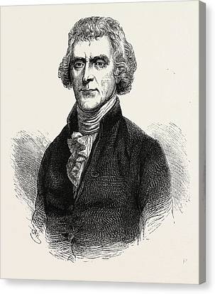 Thomas Jefferson Was An American Founding Father Canvas Print by American School
