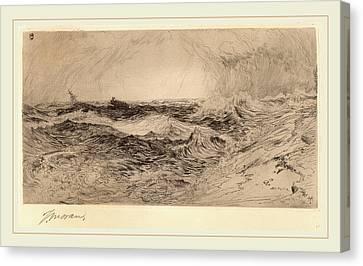 Thomas Moran Canvas Print - Thomas Moran, The Resounding Sea, American by Litz Collection