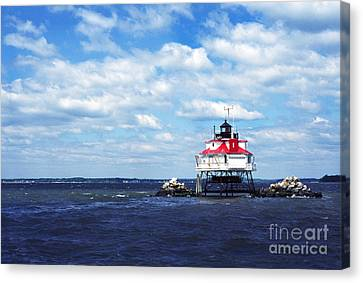 Thomas Point Shoal Lighthouse Canvas Print by Thomas R Fletcher