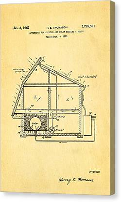 Green Energy Canvas Print - Thomason Green Energy Powered House Patent Art 1967 by Ian Monk