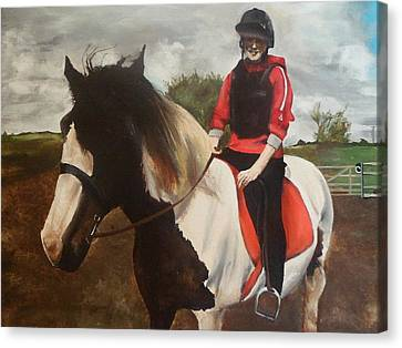 Canvas Print featuring the painting Thompsons Horse by Cherise Foster