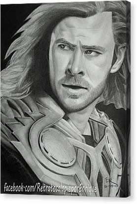 Avengers Canvas Print - Thor Odinson - Chris Hemsworth by Enrique Garcia