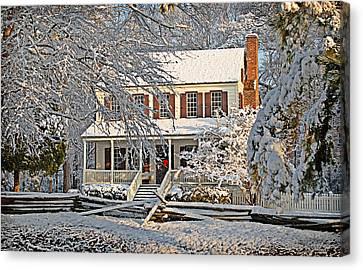Thorntree In Snow Canvas Print by Linda Brown