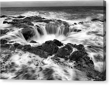 Thor's Well Monochrome Canvas Print