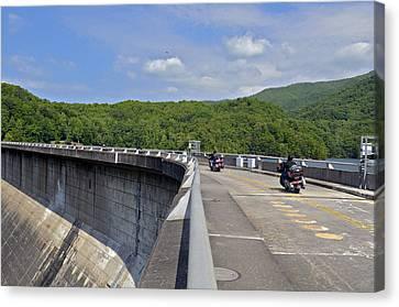 Those Dam Motorcycles Canvas Print by Susan Leggett